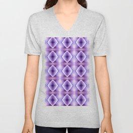 Blue Purple Geometric Diamond Pattern Design Unisex V-Neck