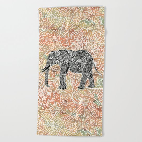 Tribal Paisley Elephant Colorful Henna Floral Pattern Beach Towel