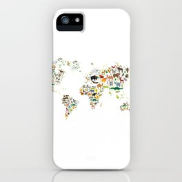Cartoon animal world map for children and kids, Animals from all over the world on white background iPhone Case