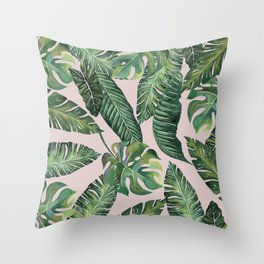 Jungle Leaves, Banana, Monstera Pink #society6 Throw Pillow