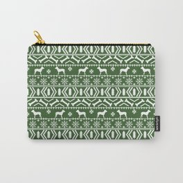 Pitbull fair isle christmas holidays green and white dog breed silhouette pattern Carry-All Pouch