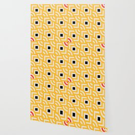 Round Pegs Square Pegs Yellow Wallpaper