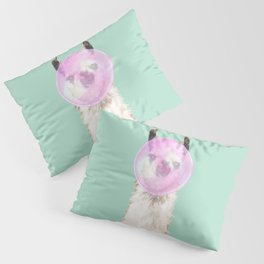 Bubble Gum Popped on Llama (2 in series of 3)  Pillow Sham