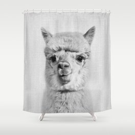 Alpaca - Black & White Shower Curtain