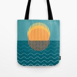 Minimalist Sunset Over Ocean, Holiday Print, Sun Set Poster, Large Printable Photography, Wall Art Tote Bag