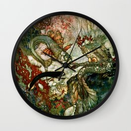 """""""King of the Mermaids"""" Fairy Tale Art by Edmund Dulac Wall Clock"""