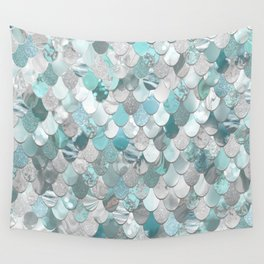 Mermaid Aqua and Grey Wall Tapestry