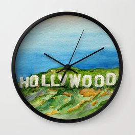Hollywood Sign - An American Cultural Icon Wall Clock