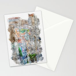 Aquarelle sketch art. Old streets of old city in south of Croatia, Dubrovnik Stationery Cards
