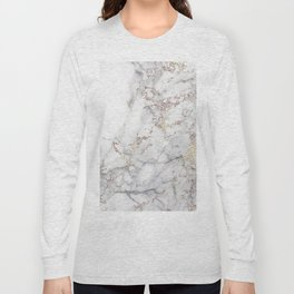 Champagne Rose Gold Blush Metallic Glitter Foil On Gray Marble Long Sleeve T-shirt