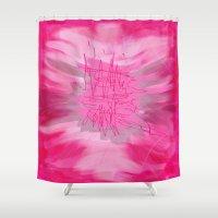 poem Shower Curtains featuring pink poem  by sladja
