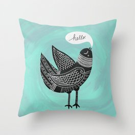 Hello Bird Throw Pillow