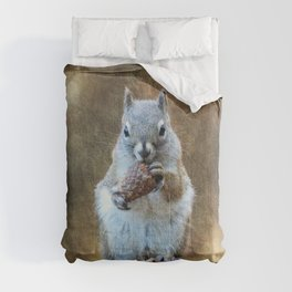 Squirrel with a Pine Cone Comforters