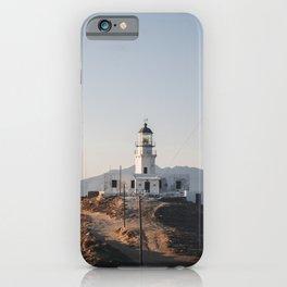 Sunset at Greek Lighthouse | Mykonos Greece Travel Photography | Light Photo Art iPhone Case