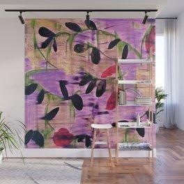 Purple Garden. Purple, Vines, Garden, Flowers, Green, Abstract, Jodilynpaintings Wall Mural