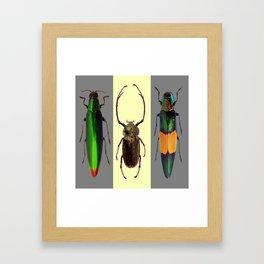 BEETLES ON CREAM & GREY  ABSTRACT ART Framed Art Print