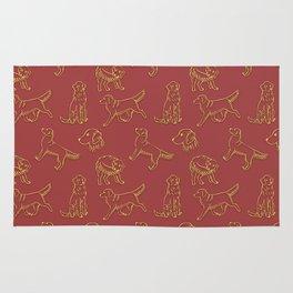Golden Retriever Pattern (Terracotta Red Background) Rug