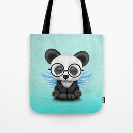 Cute Panda Cub with Fairy Wings and Glasses Blue Tote Bag