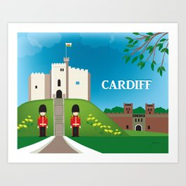 Cardiff, Wales - Skyline Illustration by Loose Petals Art Print