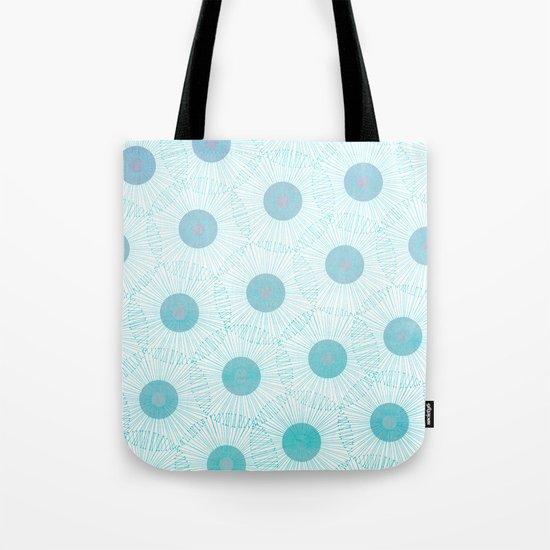 floral blue dots- abstract retro aqua pattern Tote Bag