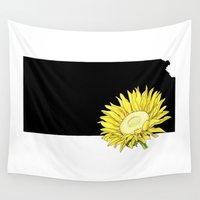 kansas Wall Tapestries featuring Kansas Silhouette by Ursula Rodgers