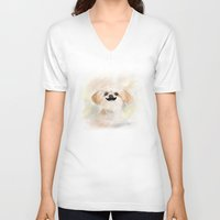 shih tzu V-neck T-shirts featuring Mustache SHIH TZU by Best Friends Furever