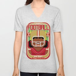 American Football Red and Gold - Hail-Mary Blitzsacker - Aretha version Unisex V-Neck