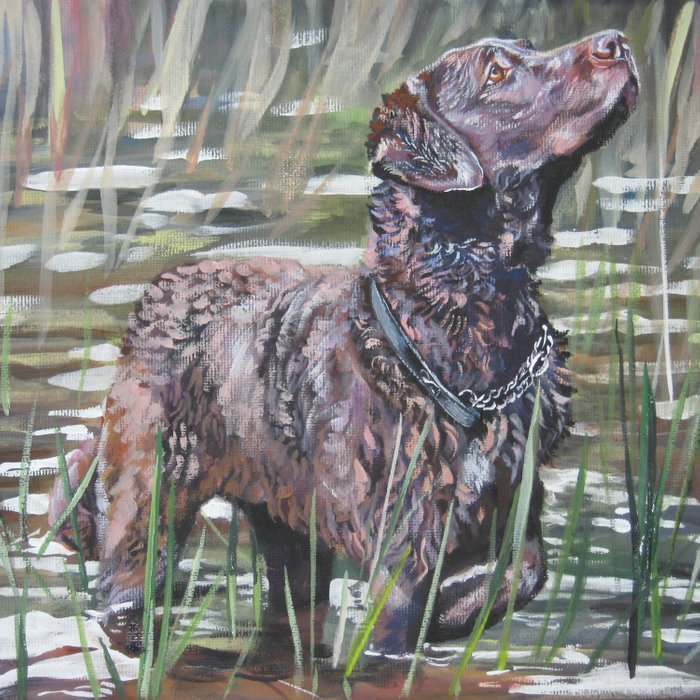 the Chesapeake Bay Retriever dog art from an original painting by L.A.Shepard Comforters