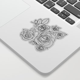 Feminine and Romantic Rose Pattern Line Work Illustration Sticker