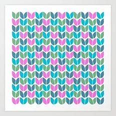 Tulip Knit (Teal Pink Blue Green) Art Print