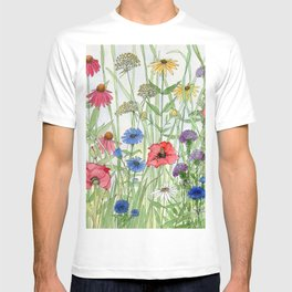Watercolor of Garden Flower Medley T-shirt