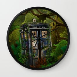 Abandoned Tardis doctor who in deep jungle iPhone 4 4s 5 5s 5c, ipod, ipad, pillow case and tshirt Wall Clock