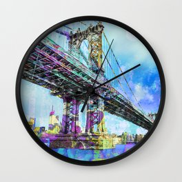 New York City Manhattan Bridge Blue Wall Clock