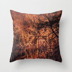 Gold Glowing Forest Throw Pillow