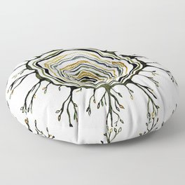 Watercolor Tree Ring Roots Floor Pillow