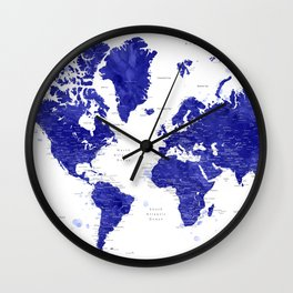 "Navy blue watercolor world map with cities, ""Ronnie"" Wall Clock"