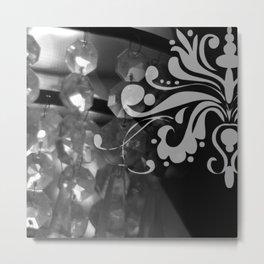 Grayscale Chandelier & Damask Metal Print