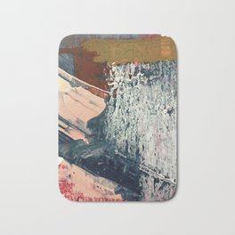 Kelly [2]: a bold, textured, abstract mixed media piece in fall colors/ blue, burnt sienna, ochre Bath Mat