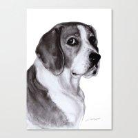 beagle Canvas Prints featuring Beagle by Danguole Serstinskaja