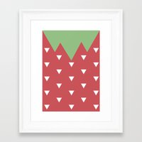 strawberry Framed Art Prints featuring Strawberry by According to Panda