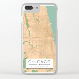 Chicago Map - Color Clear iPhone Case
