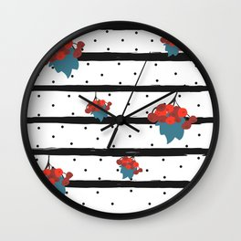 Seamless Pattern with fall berry of rowan. Colorful Design. Wall Clock