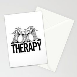 Drummers Therapy Drum Set Cartoon Illustration Stationery Cards