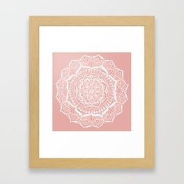 White Flower Mandala on Rose Gold Framed Art Print