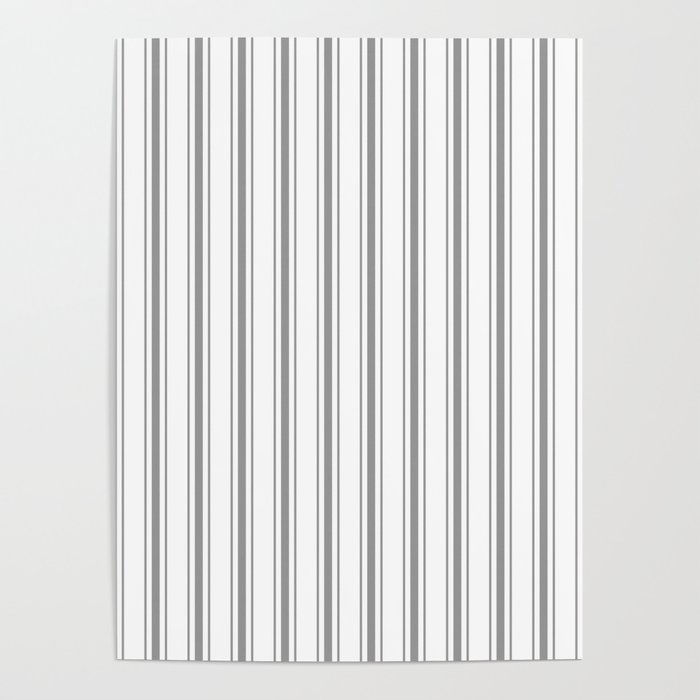 Mattress Ticking Wide Striped Pattern in Charcoal Grey and White Poster