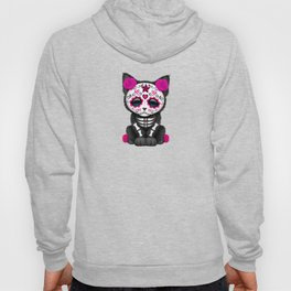 Cute Pink Day of the Dead Kitten Cat Hoody