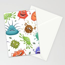 Dangerous streptococcus lactobacillus staphylococcus others microbes cartoon style vector seamless Stationery Cards