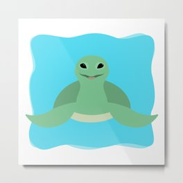 Happy Sea Turtle Metal Print