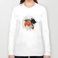robin Long Sleeve T-shirts featuring Robin by Stroke a Bird