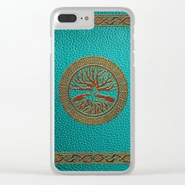 Tree of life  -Yggdrasil  - Embossed Faux Teal & Brown Leather Clear iPhone Case
